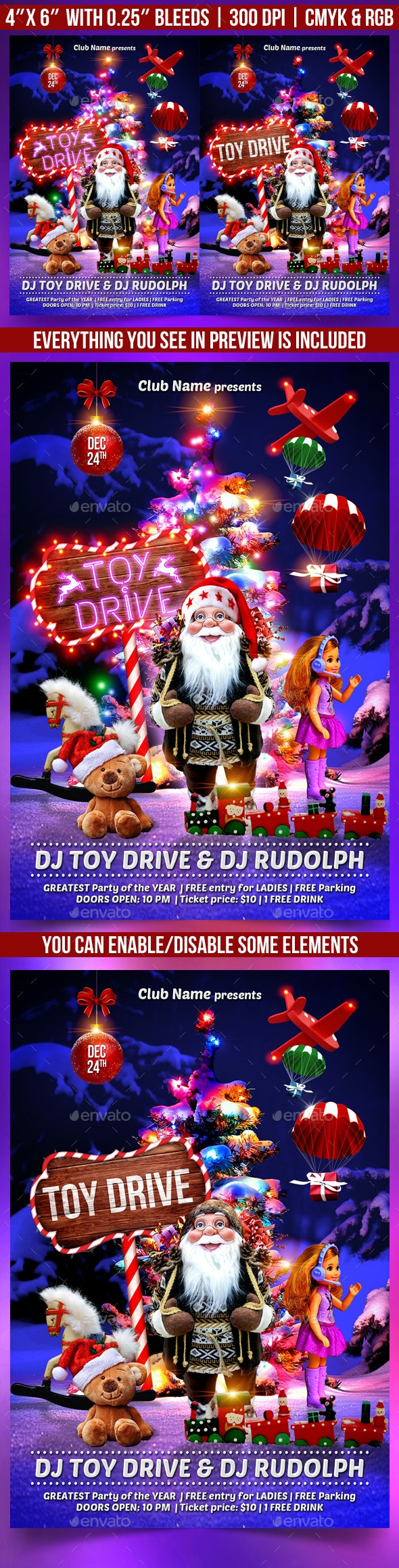 Toy Drive Flyer - Clubs & Parties Events
