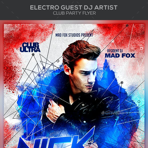 Electro Guest Dj Artist Club Party Flyer