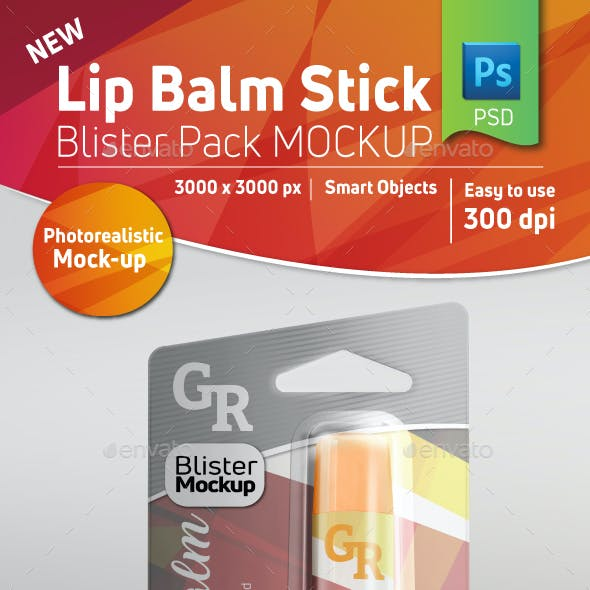 Lip Balm Blister Pack Mockup With Stick Inside