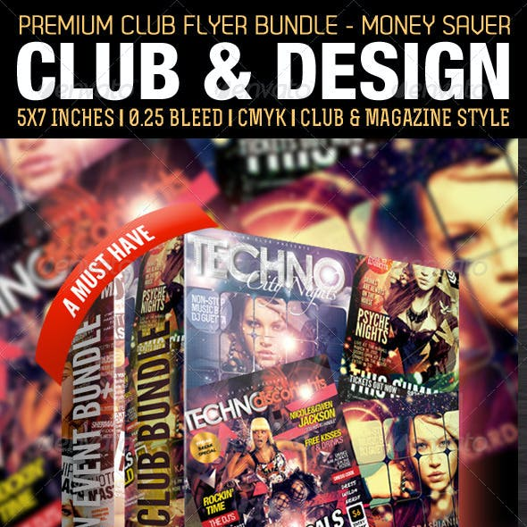Club & Design Style Premium Flyer Template Bundle