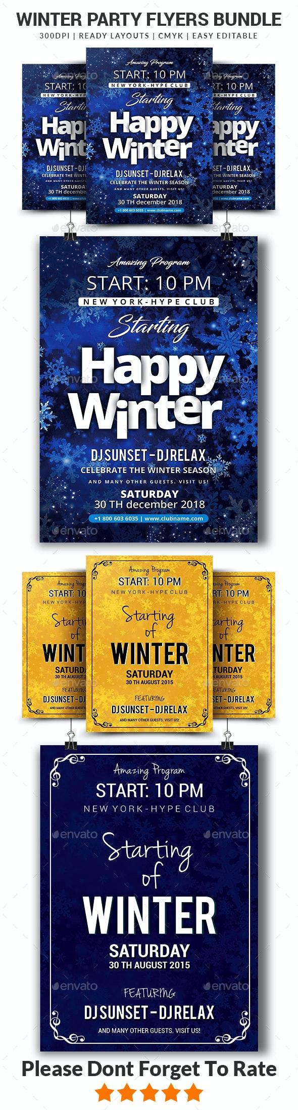 Winter Flyers Bundle Templates - Events Flyers