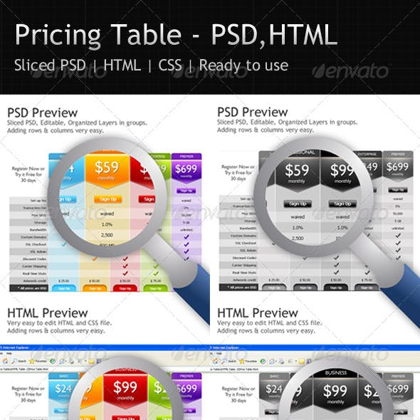 Pricing Table - PSD - HTML - CSS