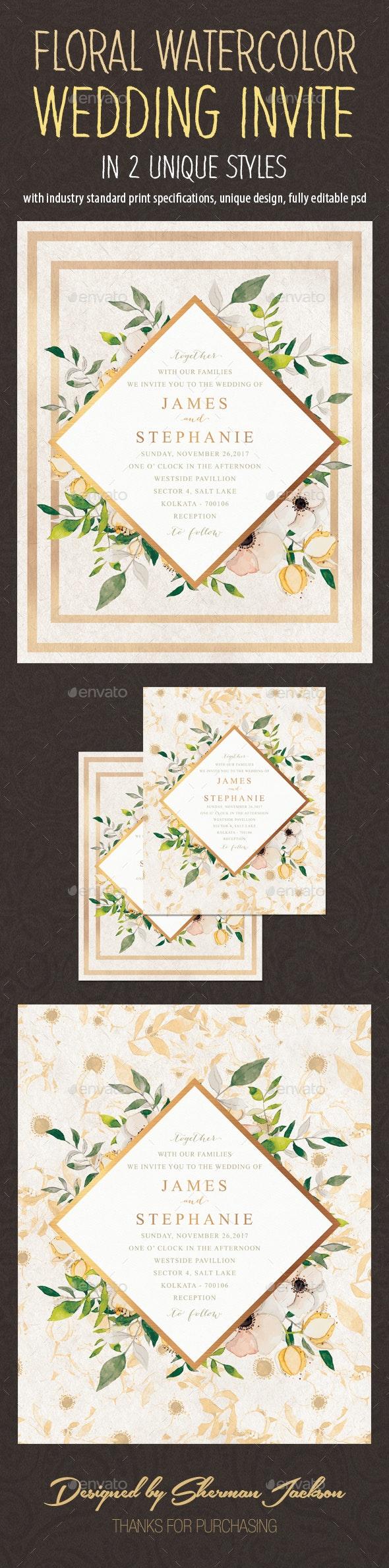 Floral Watercolor Wedding Invitation Card - Invitations Cards & Invites
