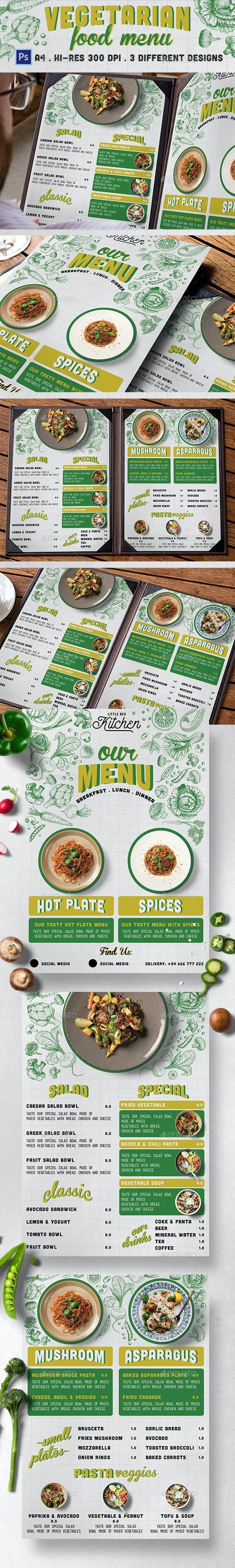 Vegetarian Restaurant Menu - Food Menus Print Templates
