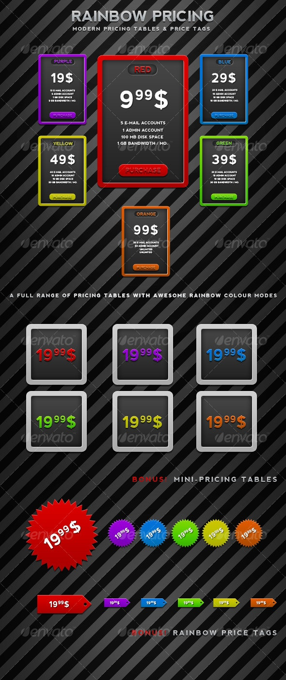Rainbow Pricing - Web Elements