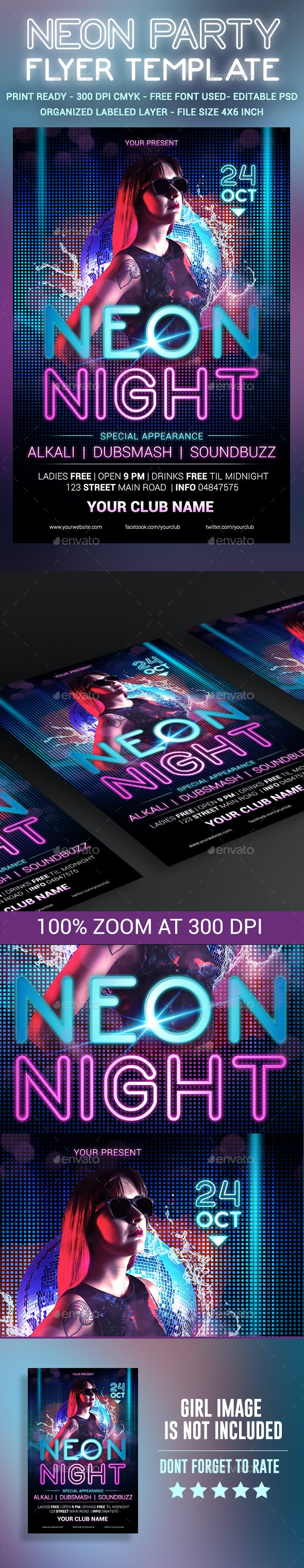 Neon Party Flyer Template - Clubs & Parties Events