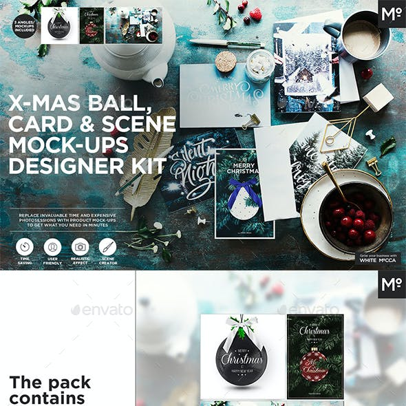 X-mas Ball, Card & Scene Mock-ups Designer Kit