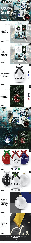 X-mas Ball, Card & Scene Mock-ups Designer Kit - Miscellaneous Product Mock-Ups