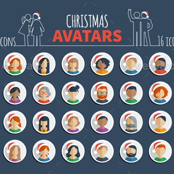 Male and female avatars and set of Christmas userpics in Santa hats