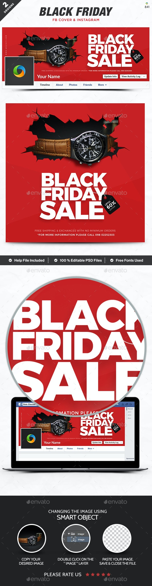Black Friday  Facebook Cover & Instagram Templates - 2 Designs - Miscellaneous Social Media