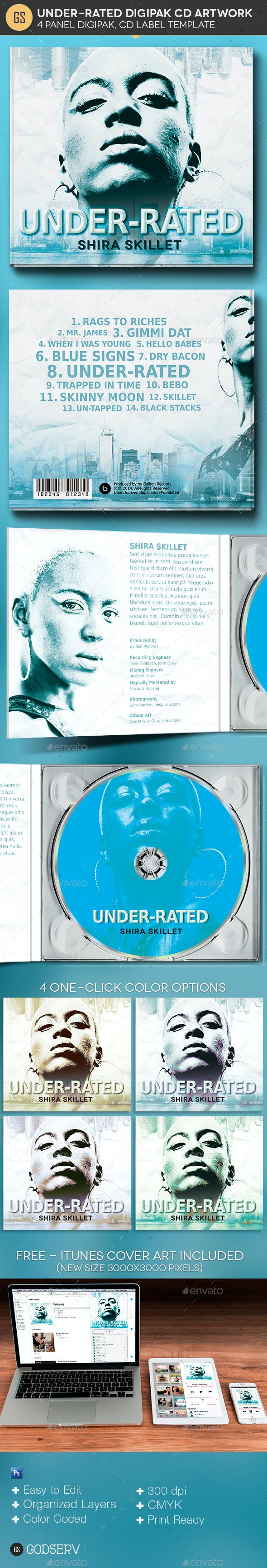 Underrated 4 Panel Digipak CD Artwork Template - CD & DVD Artwork Print Templates