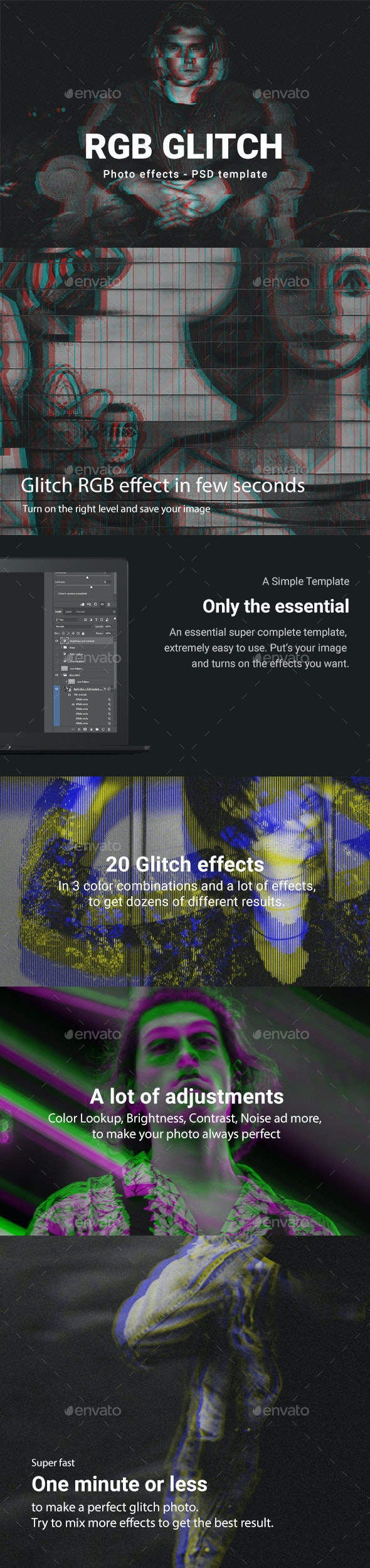 RGB Glitch Photoshop Template - Tech / Futuristic Photo Templates