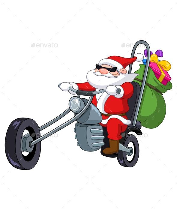 Santa with Motorcycle - Christmas Seasons/Holidays