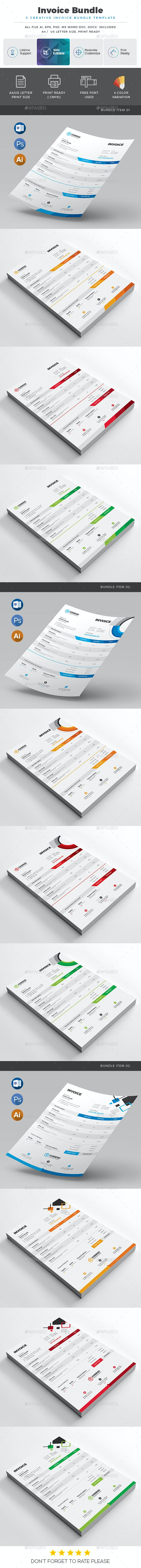 Invoice Bundle - Stationery Print Templates