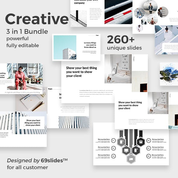 3 in 1 Creative Bundle Powerpoint Template