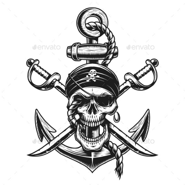 Pirate Skull Emblem with Swords and Anchor
