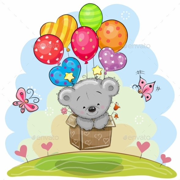Teddy Bear with Balloons - Animals Characters