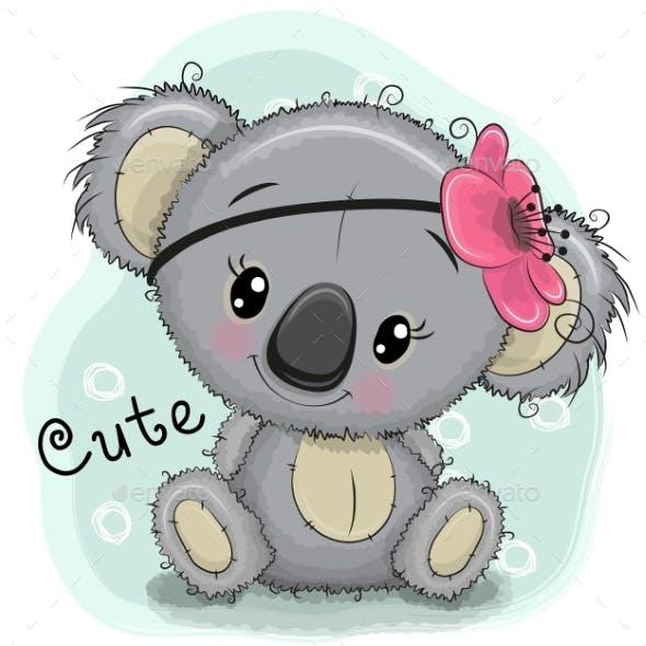 Koala Girl on a Blue Background
