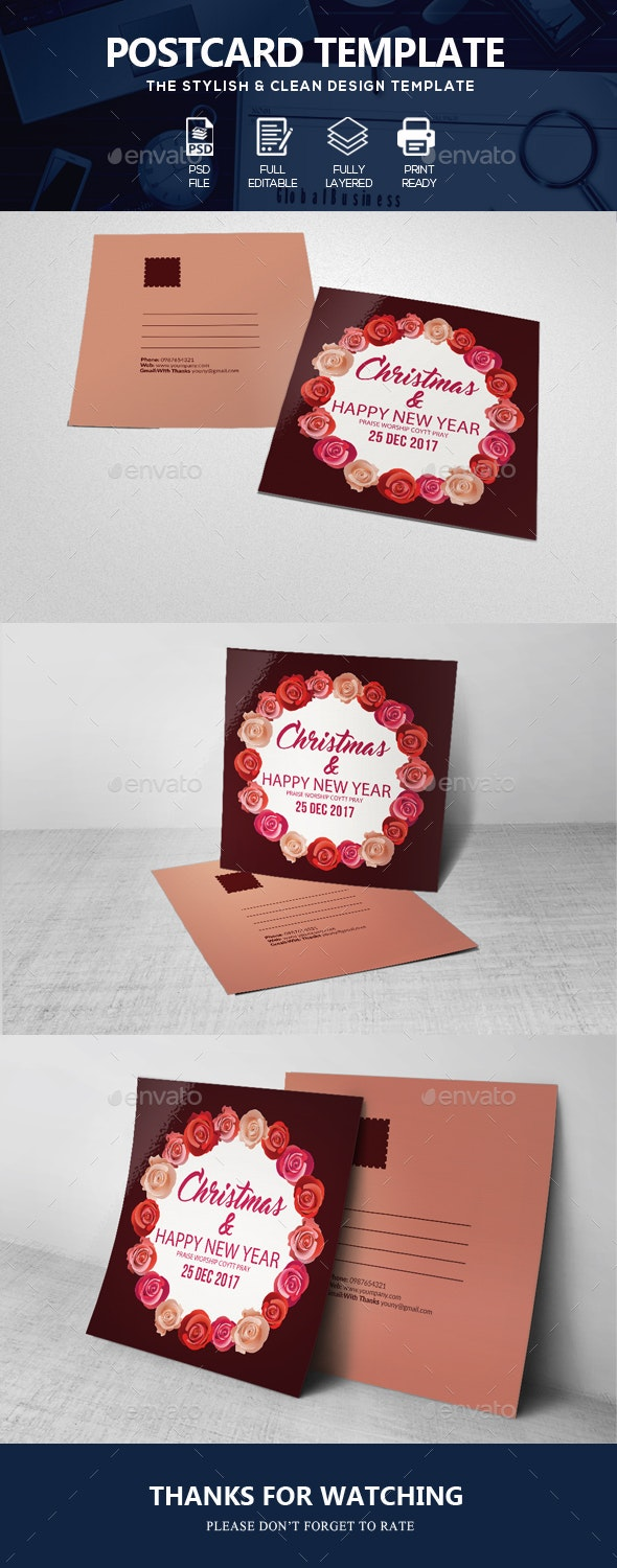 Happy Christmas Post Card - Cards & Invites Print Templates