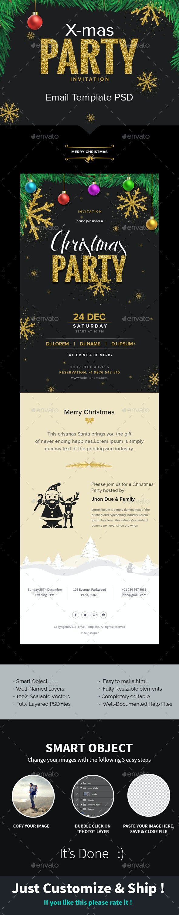 X-mas - Christmas Party Invitation Email Template PSD - E-newsletters Web Elements