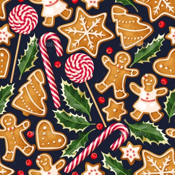 Winter Seamless Patterns with Gingerbread Cookies - Patterns Decorative