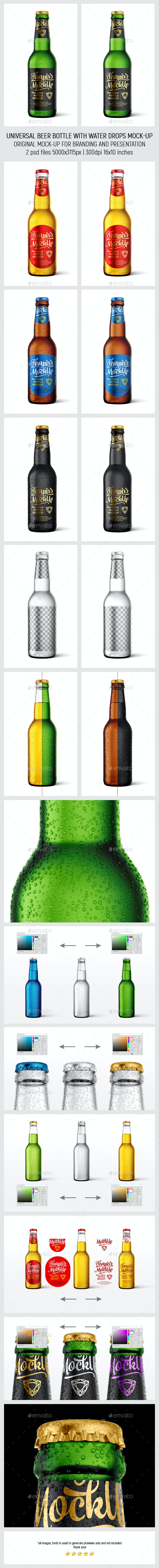Universal Beer Bottle With Water Drops MockUp - Food and Drink Packaging
