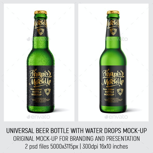 Universal Beer Bottle With Water Drops MockUp
