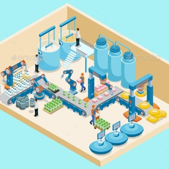 Isometric Dairy Plant Template
