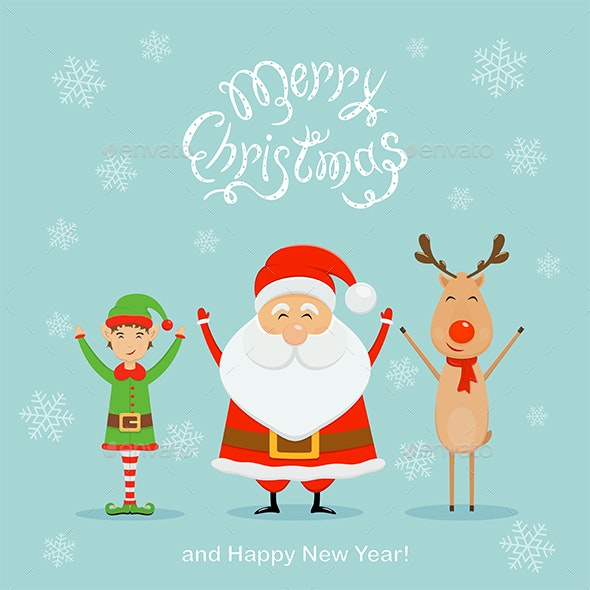 Santa with Elf and Reindeer on a Blue Christmas Background - Christmas Seasons/Holidays