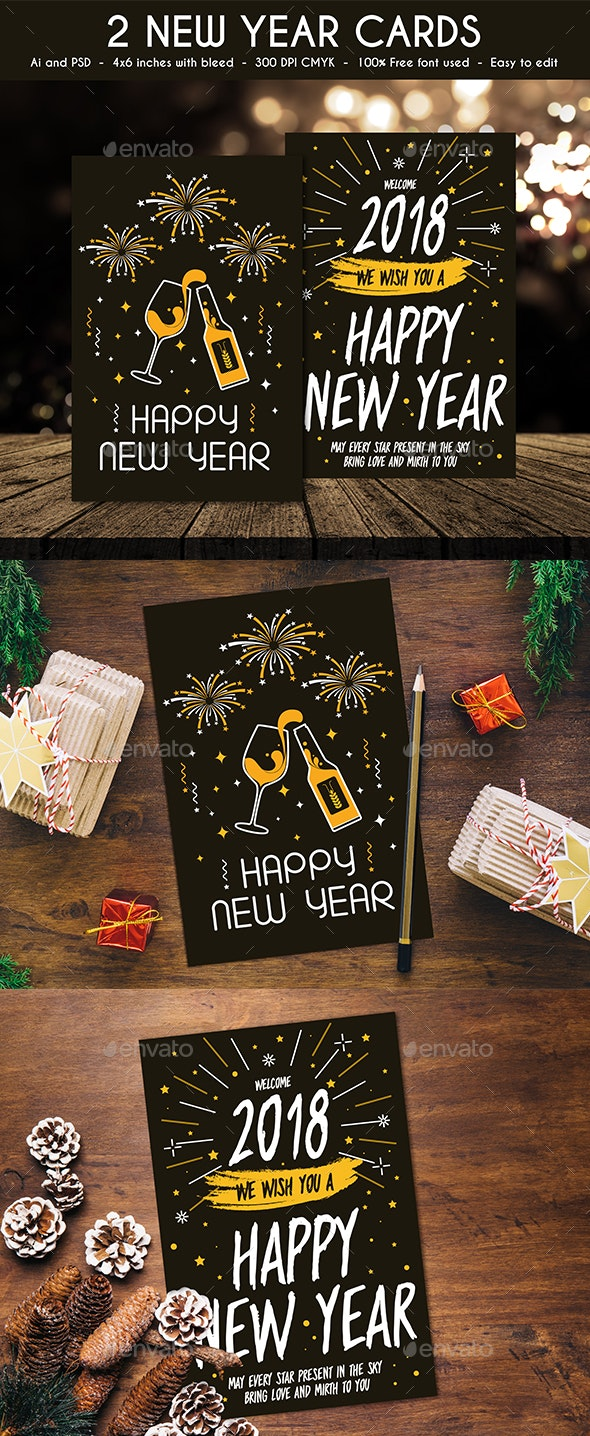 2 New Year Cards - New Year Greeting Cards