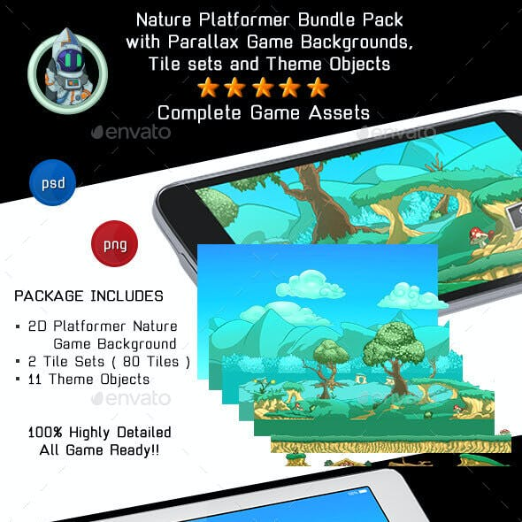 2D Platformer Nature Game Background with Tile Sets & Objects