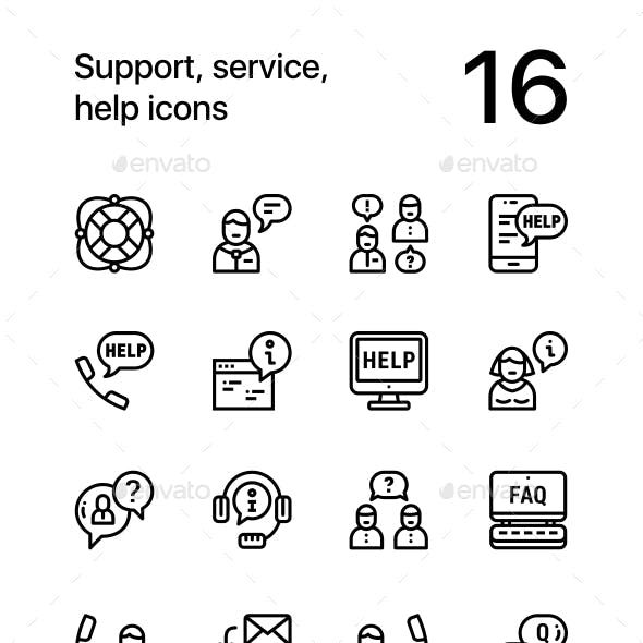 Support, Service, Help Simple Line Icons for Web and Mobile Design Pack 1