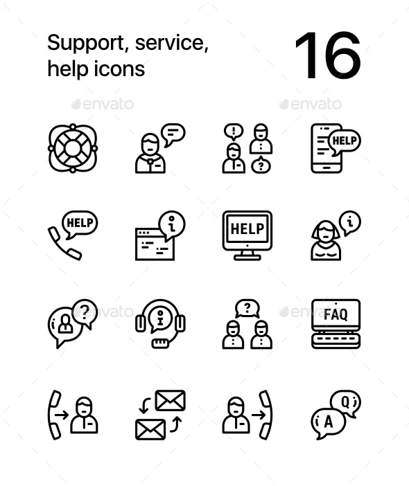Support, Service, Help Simple Line Icons for Web and Mobile Design Pack 1 - Icons