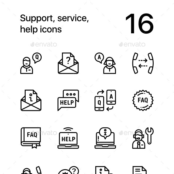 Support, Service, Help Simple Line Icons for Web and Mobile Design Pack 2