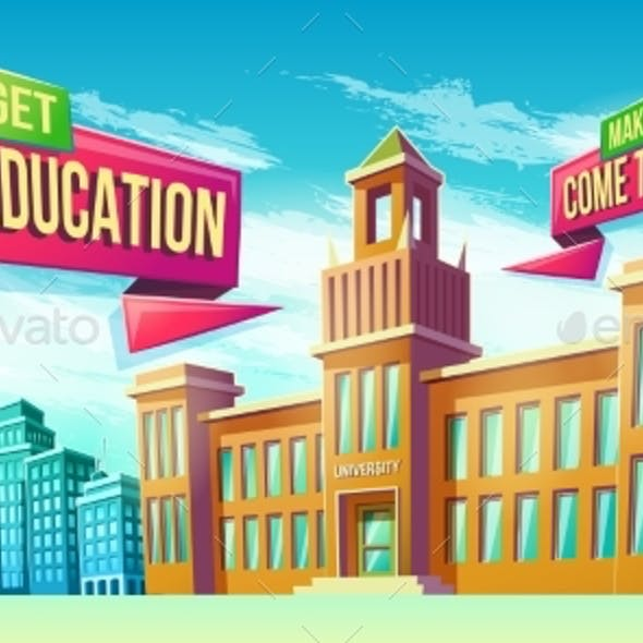 Eeducational Background with University Building