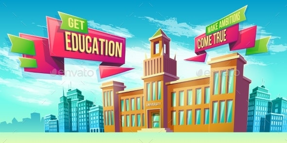 Eeducational Background with University Building - Business Conceptual