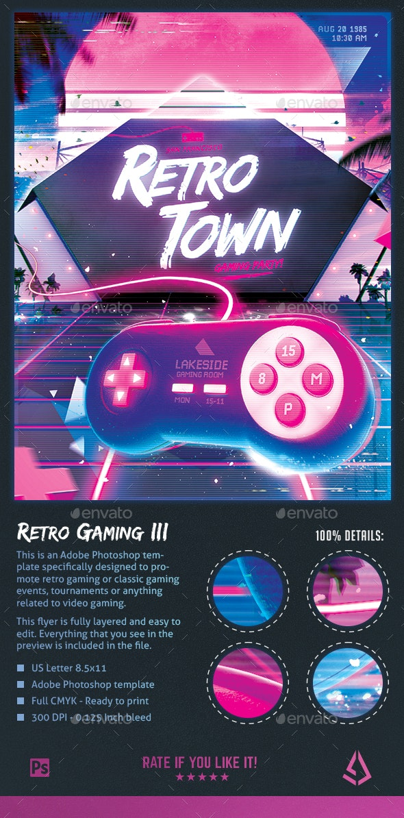 Retro Gaming Flyer III - Classic Gaming Neon Template