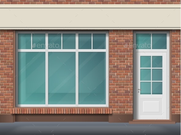 Brick Store Front with Large Transparent Window - Buildings Objects