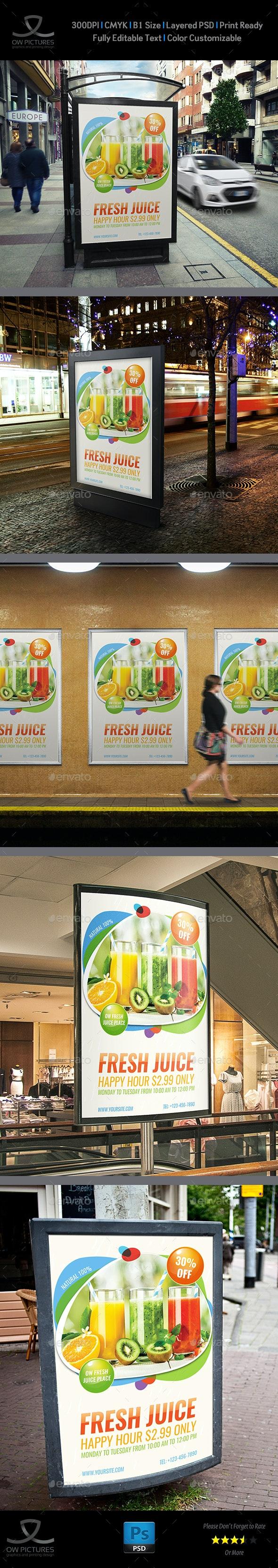 Fresh Juice Poster Template - Signage Print Templates