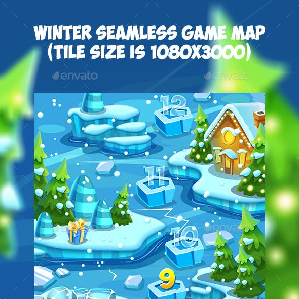 Tileable Seamless Winter Vertical Game Map
