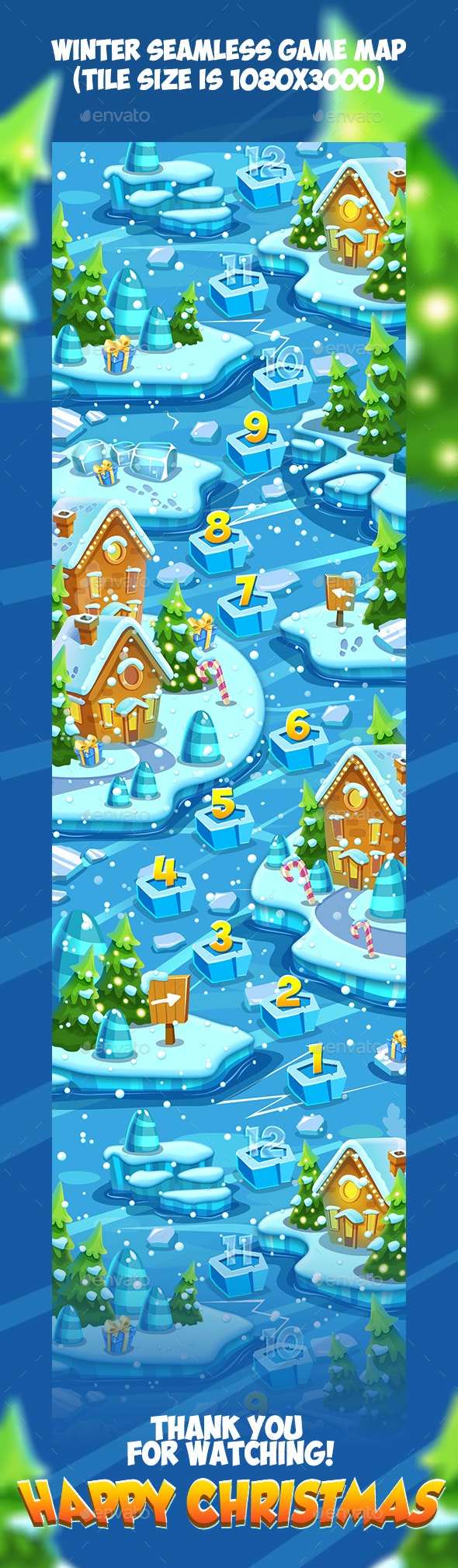 Tileable Seamless Winter Vertical Game Map - Backgrounds Game Assets