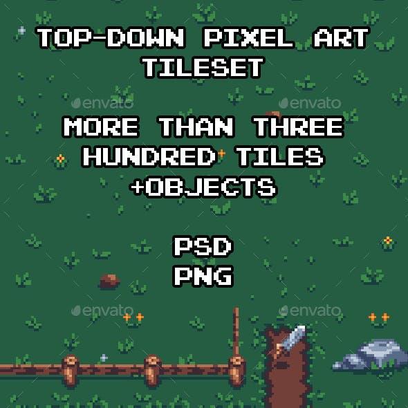 Top-Down Pixel Art Game Tileset