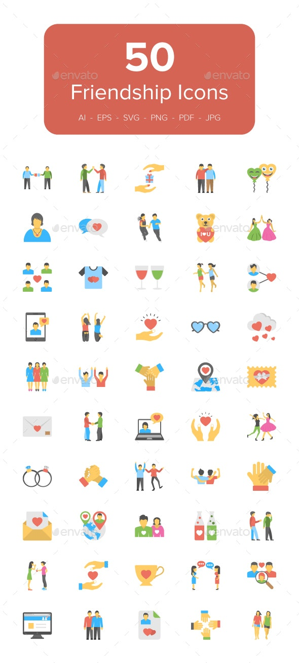 50 Flat Friendship Icons - Icons