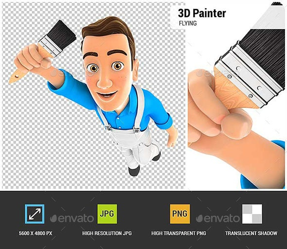 3D Painter Flying and Holding Brush - Characters 3D Renders
