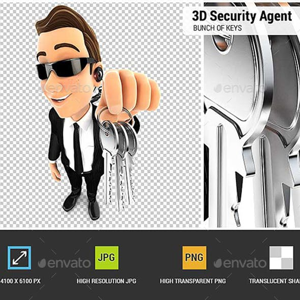 3D Security Agent Holding a Bunch of Keys