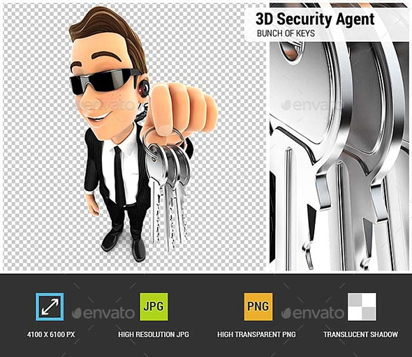3D Security Agent Holding a Bunch of Keys - Characters 3D Renders