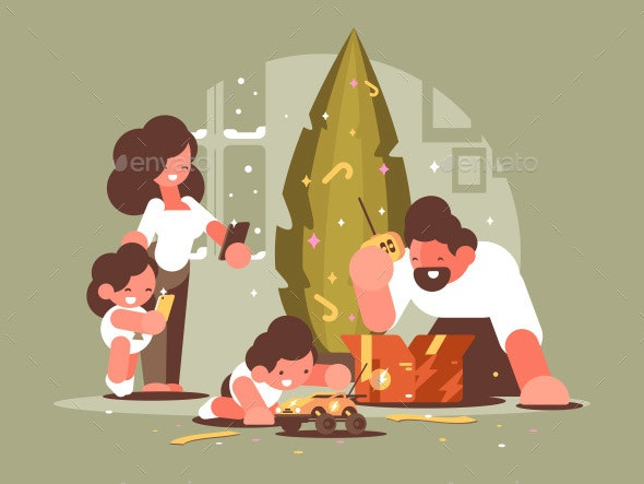 Parents with Children Open Christmas Presents - People Characters