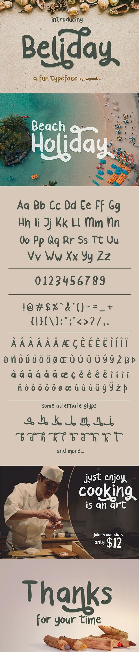 Beliday - Fun and Cute Font - Fancy Fonts