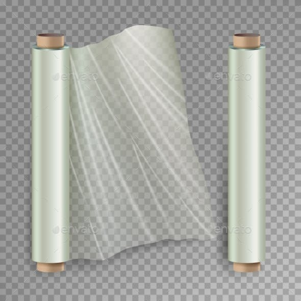 Roll of Wrapping Stretch Film Vector