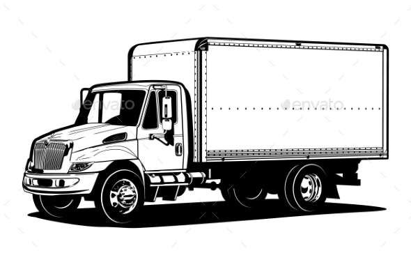 Vector Truck Outline Template Isolated on White - Man-made Objects Objects